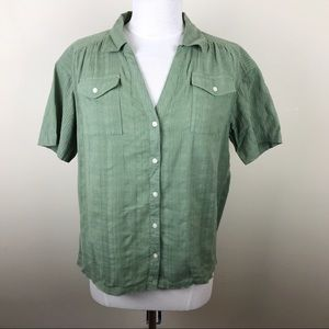 Sundance Double Breasted Green Button Down Top S